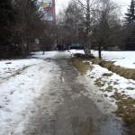 Ein Weg mit Schnee und Pfützen